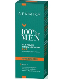 Dermika 100% for Men żel & peeling & maska mentolowa 3w1 Powerstarter na dzień 100ml