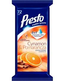 Presto Ściereczki nawilżane uniwersalne o zapachu cynamonu i pomarańczy 72 sztuki