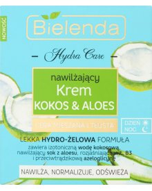 Bielenda Hydra Care Nawilżający krem kokos & aloes na dzień noc cera mieszana i tłusta 50 ml