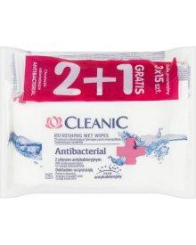 Cleanic Antibacterial Chusteczki odświeżające z płynem antybakteryjnym 3 x 15 sztuk