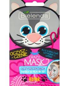 Bielenda Crazy Mask Oczyszczająca maska w płacie 3D kotek
