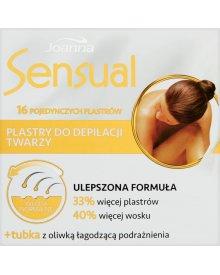 Joanna Sensual Plastry do depilacji twarzy włosy normalne 16 sztuk + Tubka z oliwką łagodzącą 10 ml