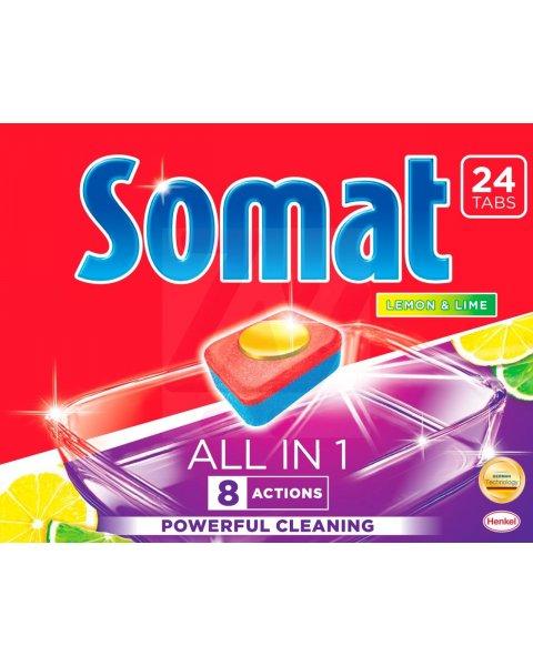 Somat All in 1 Lemon & Lime Tabletki do mycia naczyń w zmywarkach 432 g (24 sztuki)