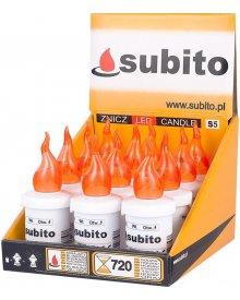 Wkład elektroniczny LED do zniczy kolor pomarańczowy 30 dni świecenia 12 sztuk