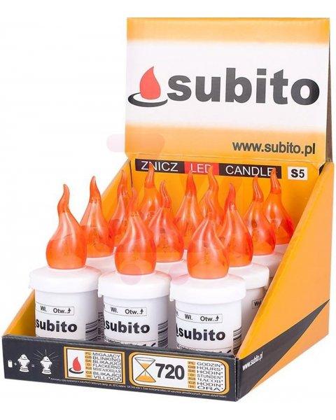 Wkład na baterie elektryczny LED do zniczy kolor pomarańczowy 30 dni świecenia 12 sztuk