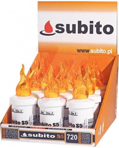 Subito S5 wkład na baterie elektryczny LED do zniczy kolor żółty30 dni świecenia 12 sztuk