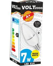 Volt żarówka 7W A+ LED gwint E14 energooszczędna 520 lumenów kolor świecenia - biały ciepły