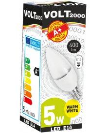 Volt żarówka 5W A+ LED gwint E14 energooszczędna 400 lumenów kolor świecenia - biały ciepły