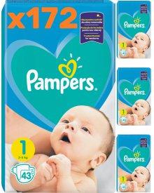 Pampers New Born Rozmiar 1, 172 pieluszki (4 opakowania) 2-5 kg
