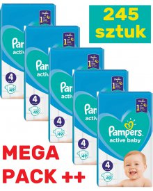 Pampers Active Baby Rozmiar 4, 245 pieluszek, 9-14 kg