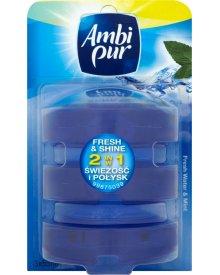 Ambi Pur 2 w 1 Świeżość i Połysk Fresh Water and Mint Odświeżacz w płynie do toalet 3 x 55 ml