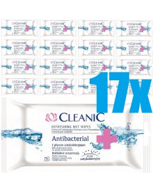 Cleanic Antibacterial Chusteczki odświeżające 16 opakowań