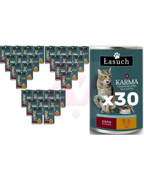 Łasuch karma z drobiem pełnoporcjowa dla dorosłych kotów 415g