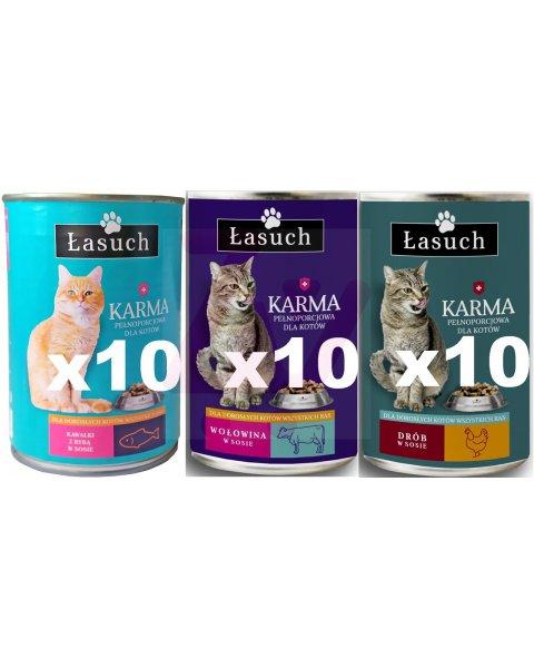 Łasuch karma mix 3 w sosie pełnoporcjowa dla dorosłych kotów 410g 30szt
