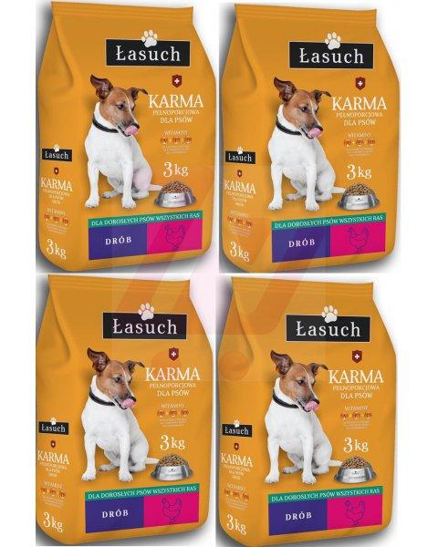 Łasuch sucha karma pełnoporcjowa dla dorosłych psów 3kg