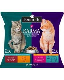 Łasuch karma z drobiem i wołowiną w sosie pełnoporcjowa dla dorosłych kotów 4x100g