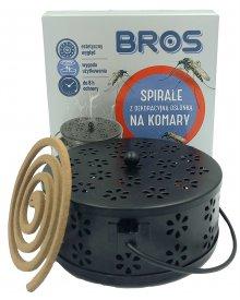 BROS dekoracyjna osłonka metalowa 1szt. oraz spirala na komary 6szt.