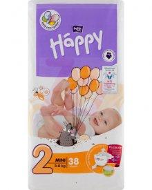 Bella Baby Happy Pieluszki jednorazowe 2 mini 3-6 kg 38 sztuk