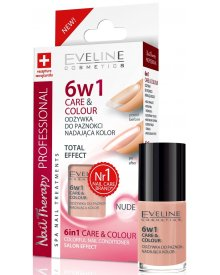 Eveline Nail Therapy lakier odżywka 6w1 Care & Colour Nude 5ml