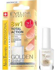 Eveline Nail Therapy lakier odżywka Total Therapy 8w1 Golden Shine 12ml