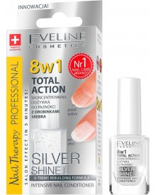Eveline Nail Therapy lakier odżywka Total Therapy 8w1 Silver Shine 12ml