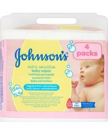 Johnson's Extra Sensitive Łagodne chusteczki oczyszczające dla niemowląt 224 sztuki